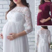 Кружевное белое или бордовое платье в пол для фотосессии беременных женщин