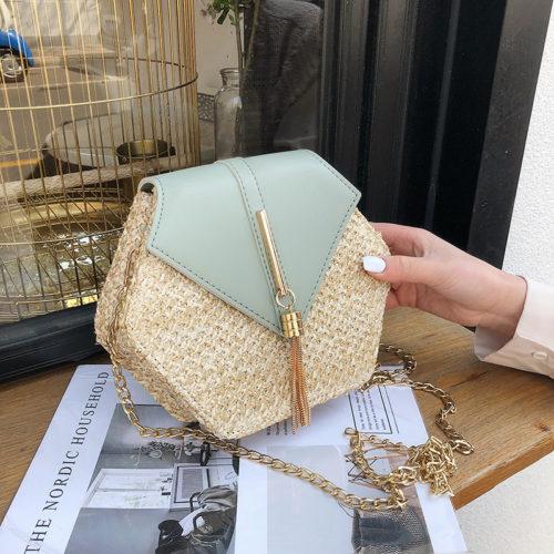 Шестиугольная соломенная плетеная женская твердая небольшая сумка через плечо на цепочке