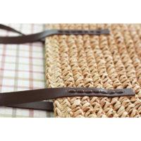 Пляжная соломенная плетеная вместительная сумка на плечо на длинных кожаных ручках