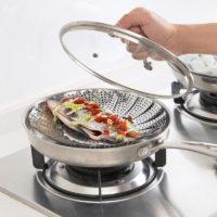 Складная крышка на кастрюлю для готовки еды на пару