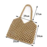 Пляжная плетеная сумка авоська из соломенной ткани, без подкладки