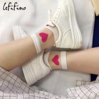 Женские высокие прозрачные носки с красным сердцем