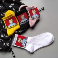 Мужские или женские высокие носки с котом и надписью Sad But Cool