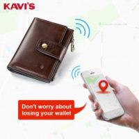 KAVIS Умный кошелек из натуральной кожи с GPS трекером отслеживания
