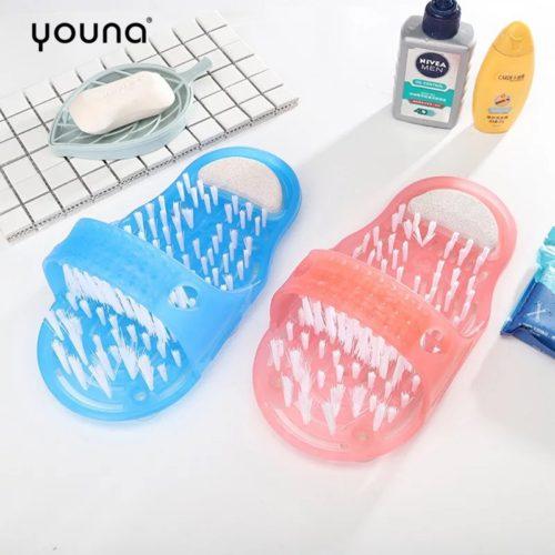 Пластиковые массажные тапочки для ног для ванной с щеткой и пемзой на присосках