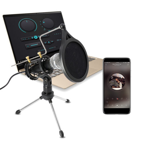 Lefon Mic-X-01 профессиональный конденсаторный микрофон для компьютер с подставкой для мобильного телефона