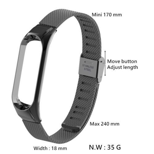 Сменный металлический тонкий ремешок из нержавеющей стали для фитнес браслета Xiaomi Mi Band 2
