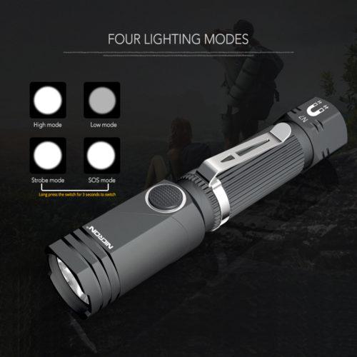 Nicron N7 светодиодный вращающийся водонепроницаемый фонарик 600 LM