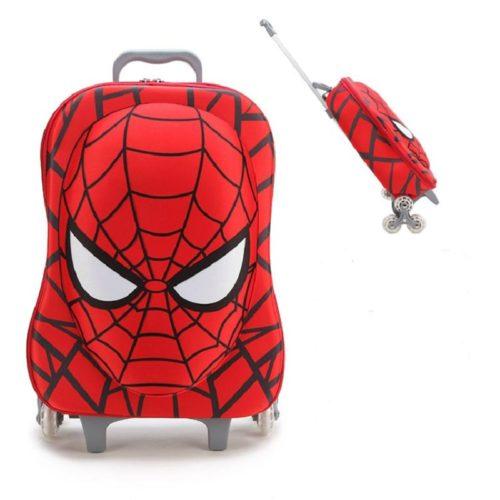 Набор детских сумок для мальчика с Человеком Пауком (чемодан с выдвижной ручкой, сумка и пенал)