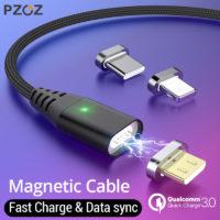 PZOZ магнитный кабель провод для быстрой зарядки Type C / Micro USB / Lightning (длина 1 или 2 м)