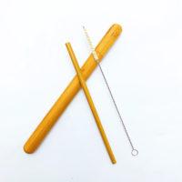 Многоразовая бамбуковая трубочка соломинка для напитков + ершик