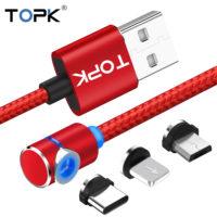 TOPK магнитный светодиодный кабель провод для зарядки (Micro USB, Type C)