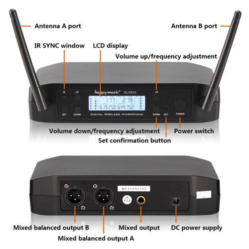 GLXD42 караоке система с 2 беспроводными микрофонами