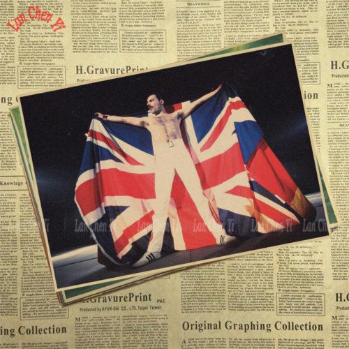 Винтажные крафтовые постеры плакаты с Freddie Mercury (Фредди Меркьюри) из Queen