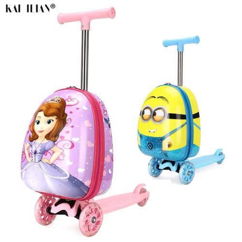 Милый мультяшный детский скутер чемодан на колесиках