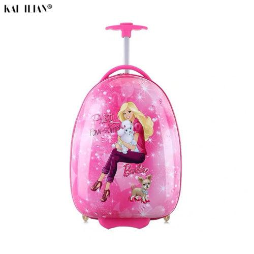 Детский дорожный пластиковый твердый чемодан на колесиках 16/18″