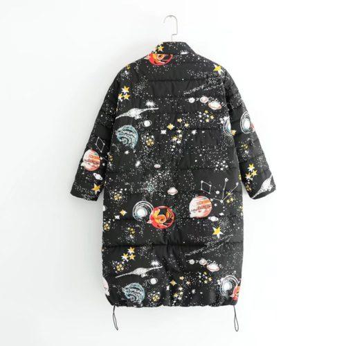 Женский зимний легкий длинный пуховик куртка со звездами, космосом и планетами