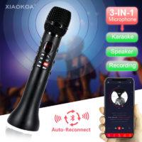 XIAOKOA Профессиональный беспроводной Bluetooth караоке микрофон 3 в 1 для телефона