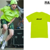 Кислотно зеленая футболка Билли Айлиш и надписью Billie