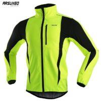 ARSUXEO Водонепроницаемая светоотражающая спортивная мужская зимняя флисовая куртка для велоспорта