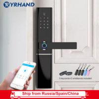 YRHAND Дверной водонепроницаемый биометрический умный WiFi замок с ручкой, со сканером отпечатка пальца