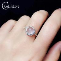 Серебряное кольцо из стерлингового серебра 925 пробы с натуральным розовым кварцем