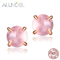 Серебряные позолоченные серьги-гвоздики с натуральным камнем из розового кварца