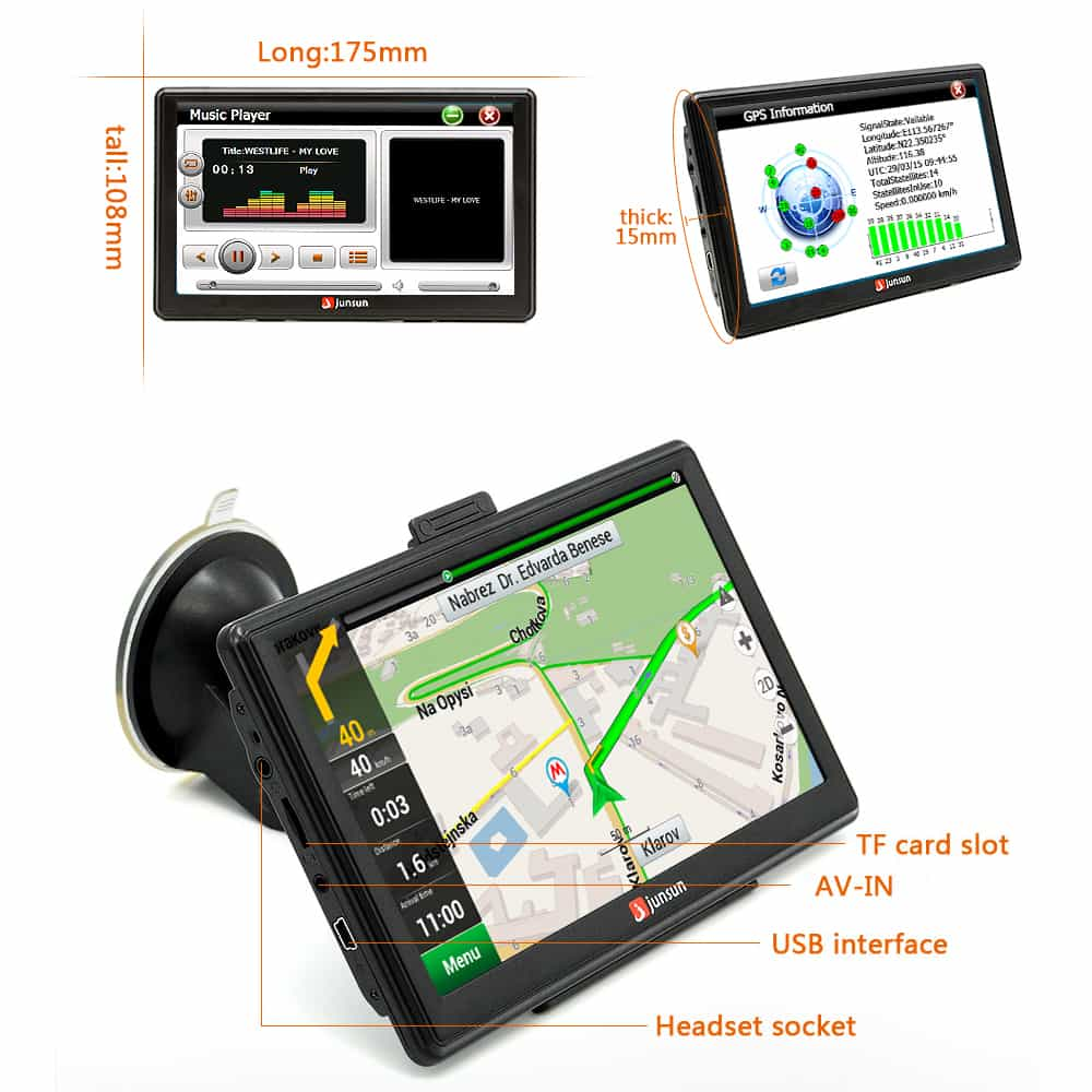This is a touch screen 7 inch gps navigation with 128m ddr and 4gb flash memory inside